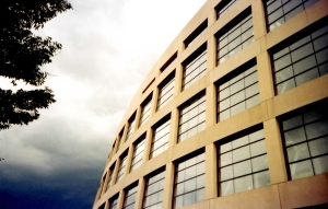 Close-up of the exterior of the SLC Library: windows on an arced wall reflect the gray light of storm clouds. In the upper left, green tree leaves.