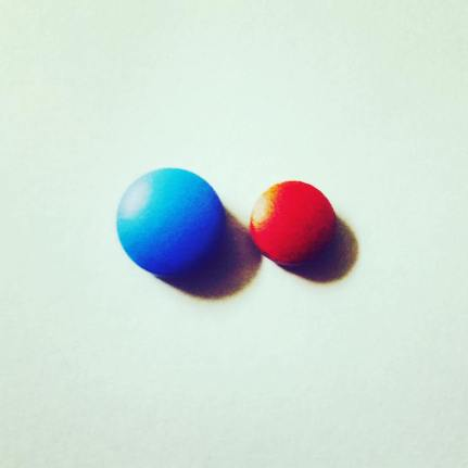 One blue pill, one red pill. Both are epilepsy medications.