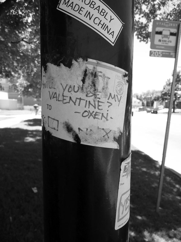 Crosswalk pole with a postal service sticker that reads Will you be my Valentine? Oxen