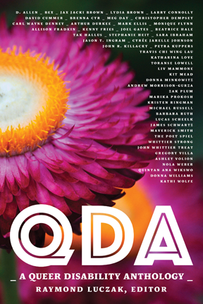 Cover of QDA: Queer Disability Anthology with large fuschia and yellow flower