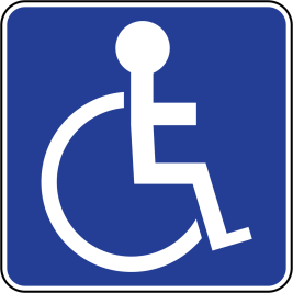 Disabled Parking Sign with a blue background and a white drawing of a person using a wheelchair.