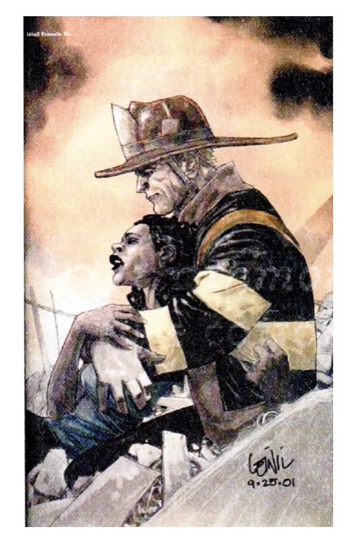 Comic book style illustration of a firefighter lifting a black woman from the rubble of 9/11. It is highly stylized and heroic.