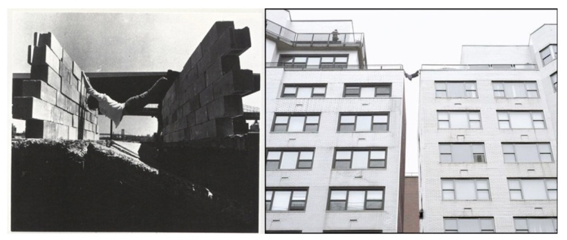 Left: Dennis Oppenheim straddling his body across two unfinished walls, toes on one side and fingers on the other, his back curved into hyperextension as he holds the pose; a city bridge is beyond him. Right: a person in the same pose as Oppenheim straddles the gap between two bland looking apartment structures. There is another person on the fire escape just above.